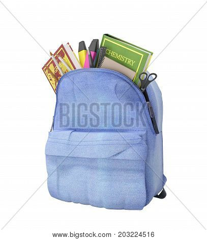 Blue Backpack With School Supplies 3D Render On White No Shadow