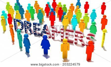 The word dreamers with an american flag texture surrounded by a group of differently colored people DACA immigration concept 3D illustration