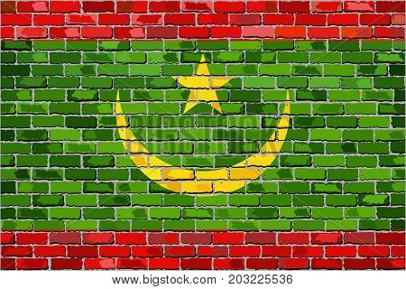 Flag of Mauritania on a brick wall - Illustration
