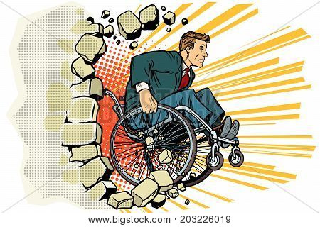 Businessman in a wheelchair. Disabilities and health. Barrier-free environment. Pop art retro vector illustration