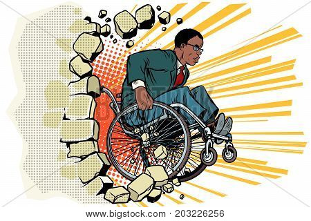 African Businessman in a wheelchair. Disabilities and health. Barrier-free environment. Pop art retro vector illustration
