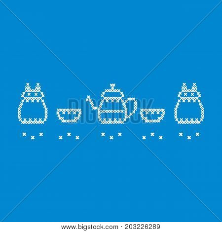 Cute Vector Illustration Cross Embroidery Of Teapot With Two Cups And Owl.
