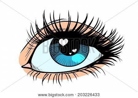 Heart glare in the eye. Female eyes with blue pupil. Pop art retro vector illustration
