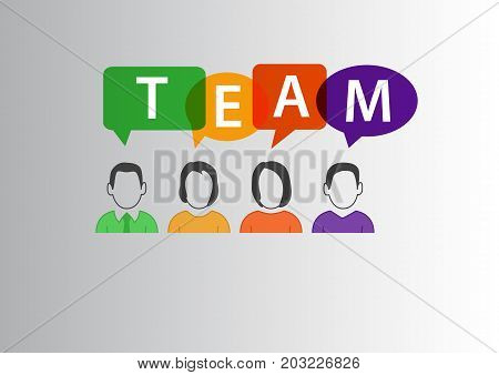 Team concept as vector illustration of group of diverse workforce communicating with each other