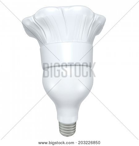 Light Bulb With A Chefs Hat 3D Illustration