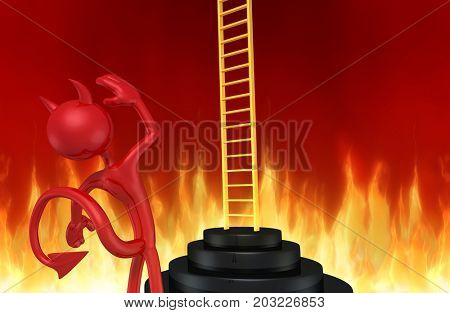 The Original 3D Character Illustration Devil Looking At A Ladder