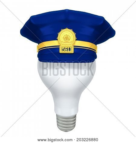 Light Bulb With A Police Cap 3D Illustration
