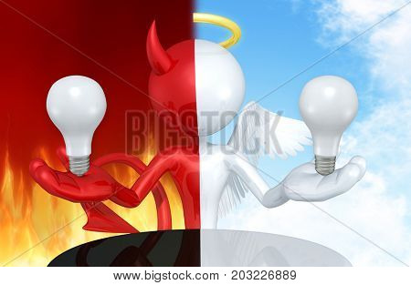 Good Or Bad Idea Devil Or Angel With The Original 3D Character Illustration