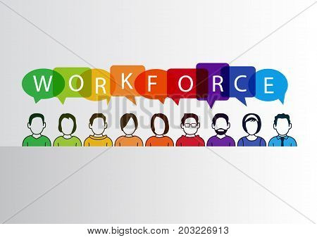 Colorful workforce infographic as vector illustration with group of people