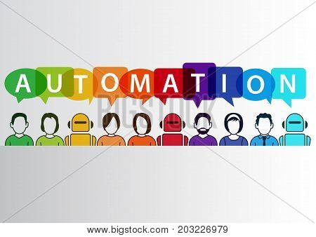 Process automation concept as background. Vector illustration of mixed group of people and machines and robots