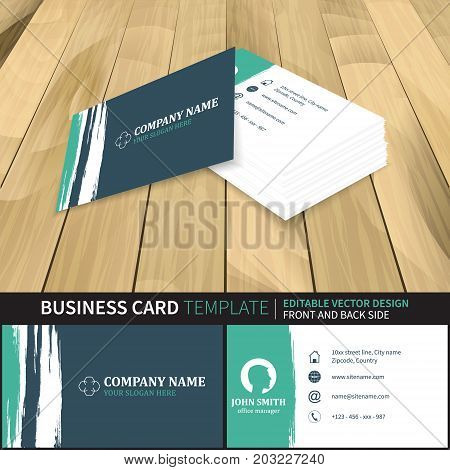 Business Card Template With Grunge Effect In Retro Style. Vector Illustration With Front And Back Si