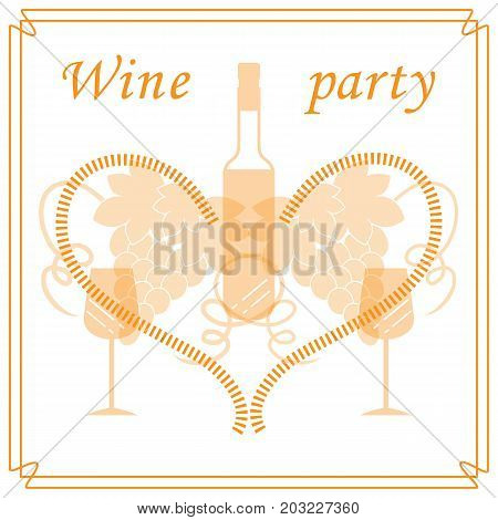 Cute Vector Illustration Of Bottle Of Wine, Glasses, Grapes And Heart In Frame. Wine Business.