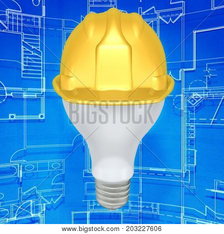 Light Bulb With A Construction Hardhat 3D Illustration
