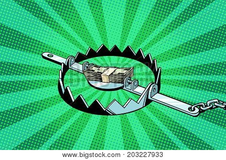 Money in an iron trap. Pop art retro vector illustration