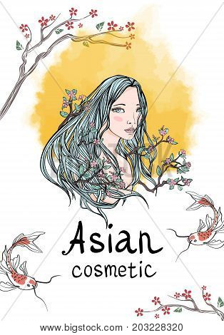 Template advertising poster or leaflet. Long-haired woman among the branches and flowers of cherry blossoms, a symbol of naturalness and natural beauty. Yellow sun on background. Vector illustration.