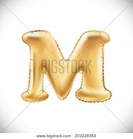 Balloon Letter M. Realistic 3D Isolated Gold Helium Balloon Abc Alphabet Golden Font Text. Decoratio