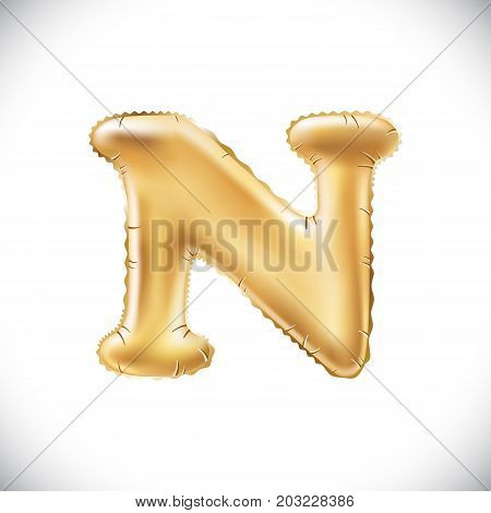 Vector Metallic Gold N Balloons, Golden Letter. New Year, Holiday, Birthday, Celebration. Golden Shi