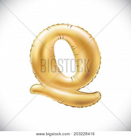 Balloon Letter Q. Realistic 3D Isolated Gold Helium Balloon Abc Alphabet Golden Font Text. Decoratio