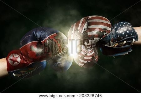 Political Crisis between North Korea and USA symbolized with Boxing Gloves