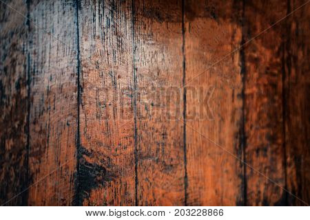Closeup of old natural wood grunge texture. Dark surface with old natural wooden pattern. Vintage wooden floor. Rustic table top view with copy space for text