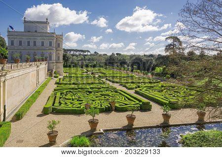 Rome Italy march 26 2017: Casino del Bel respiro inside Villa Doria Pamphili park and its secret garden in Rome Italy