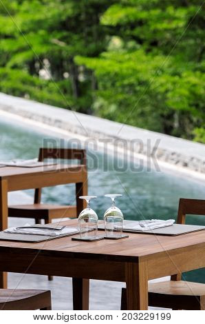 Table for luxurious dining with little canal