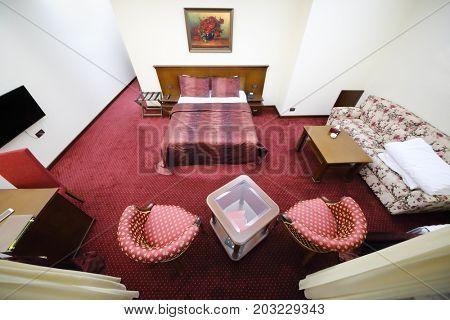 TSAGHKADZOR, ARMENIA - JAN 6, 2017: Empty suite in Hotel Elegant Hotel and Resort is located 1.2 km from ski lift Tsaghkadzor 5 in ski resort