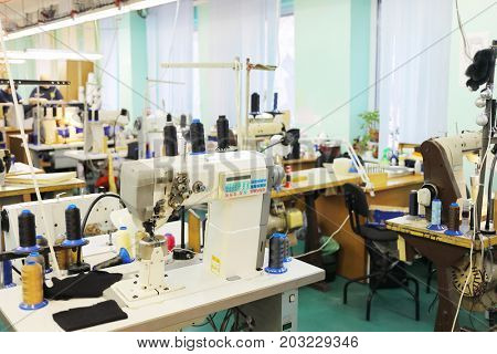 MOSCOW - FEB 21, 2017: Workshop with sewing machines at Ralf Ringer shoes factory. For the production of shoes Ralph Ringer use only genuine leather