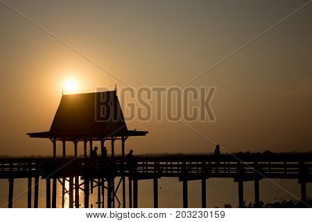 Silhouette The Pavilion And The Bridge On The Sunset With Copy Space