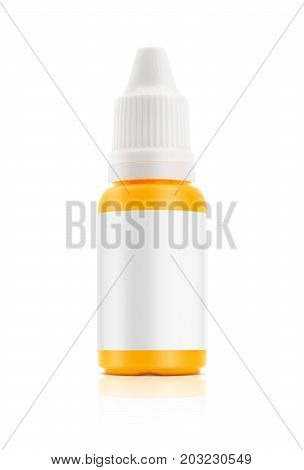 blank packaging plastic bottle for eyes dropper medicine isolated on white background with clipping path