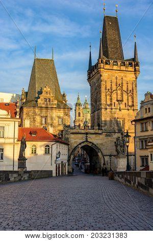 Lesser Town Bridge Towers on Charles Bridge in Prague, Czech Republic, Bohemia