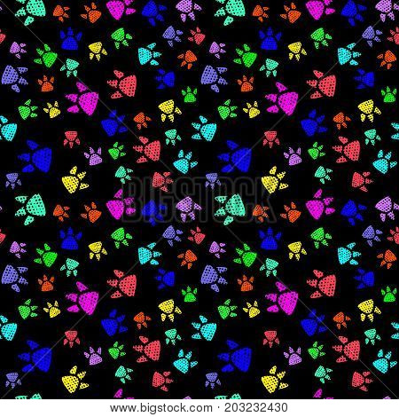 Simple cute kids pattern trace a predator dinosaur form an interesting pattern. Completed in multicolor neon colors.Funny wallpaper for textile and fabric. Fashion style.Colorful bright.