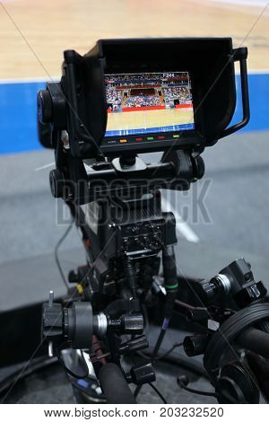 MOSCOW - JAN 27, 2017: Professional camera at basketball match CSKA (Moscow) - Anadolu Efes (Istanbul) in Megasport stadium