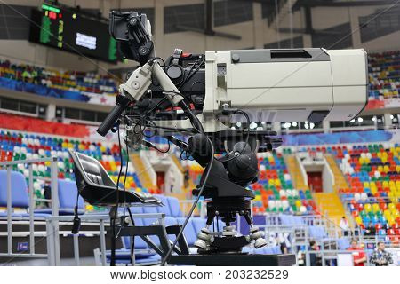MOSCOW - JAN 27, 2017: Professional cameraman workplace at basketball match CSKA (Moscow) - Anadolu Efes (Istanbul) in Megasport stadium