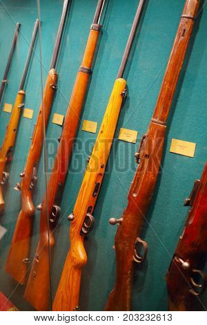 MOSCOW - SEP 22, 2016: Many rifles at museum on Petrovka, 38, Main Department of Moscow Ministry of Internal Affairs