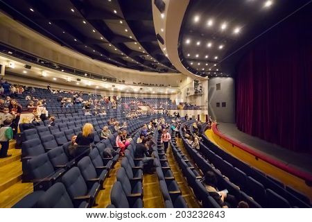 MOSCOW - NOV 19, 2016: People after Carlson performance in Moscow theater of Satire