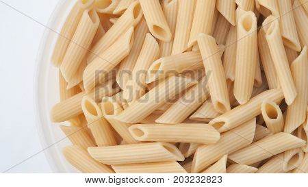 Scrambled pasta ready to eat close up to detail texture and isolate on white background with clipping paths.