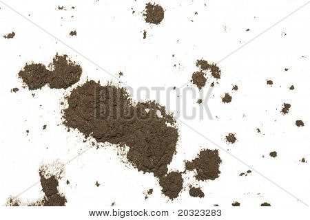 Mud splat pattern isolated on a white background