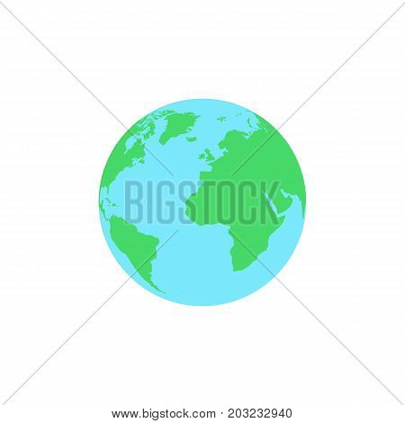 Planet earth in a flat style is isolated on a white background. Web icon. Continents on the ball. Vector illustration