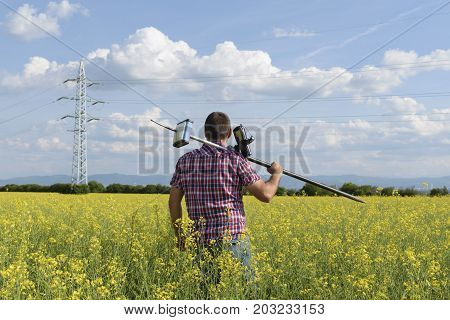 Surveyor Rapeseed Geodesy Engineer Geodesy Field Walk