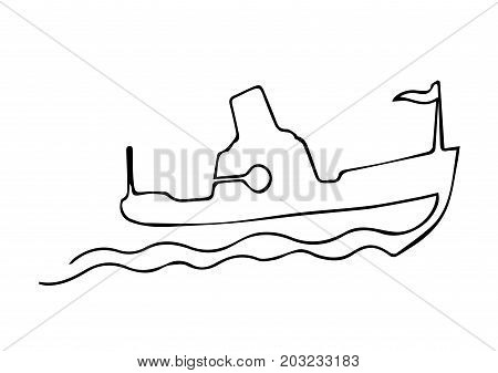 One continuous line steamship boat on waves with sign. Black and white vector illustration.Line art. Concept for travel agency, yacht club, sail cruise card, banner, poster, flyer, trip, tourism, hotels