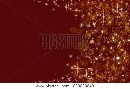 Glittering shiny background .Bord background with gold stars, illustration.