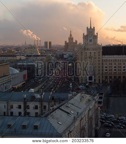 MOSCOW - MAR 19, 2016: Garden ring, Theatre of Satire, Stalin skyscraper on Kudrinskaya Square at evening