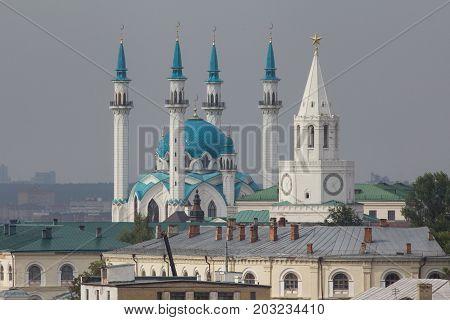 KAZAN, RUSSIA - SEPTEMBER 7, 2017: center of Kazan - kremlin, mosque Kull Shariff - telephoto shot