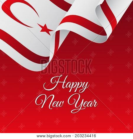 Happy New Year banner. Northern Cyprus waving flag. Snowflakes background. Vector illustration.