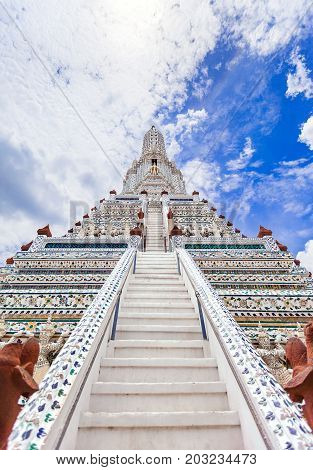 Reconstruct of Wat Arun The Temple of Dawn Landmark at Chao Phraya River in Bangkok Thailand