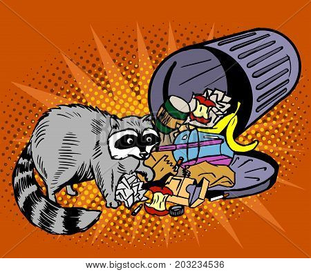 Raccoon eats from the trash. A garbage can of street thief and homeless. Pop art  illustration on an orange background