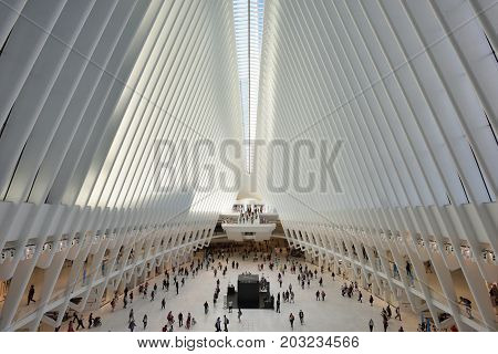 NEW YORK CITY - AUGUST 24: interior of the WTC Transportation Hub on August 24 2017 in New York City USA. The main station house the Oculus opened on March 4 2016.
