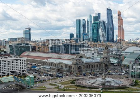 MOSCOW - AUG 30, 2015: Moscow International Business Center and railway station. Investments in Moscow International Business Center was approximately 12 billion dollars