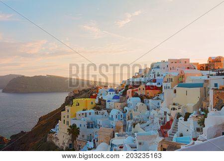 townscape of Oia, volcano caldera and Aegan sea, beautiful details of Santorini island, Greece